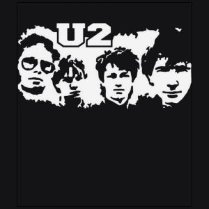 U2 rock band member black t-shirt
