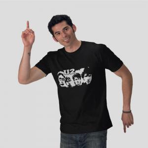 U2 rock band member black t-shirt