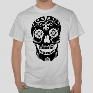 Sugar skull bone flower tribal white t-shirt