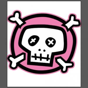 Pink pirates skull cross bone jolly brogers white t-shirt