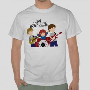 Scott Pilgrim comics sex bob-omb band white t-shirt