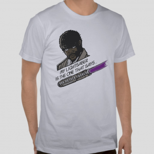 Samuel L. Jackson Jules Winnfield Pulp Fiction Movie  Star Wars Jedi Light Saber parody white t-shirt