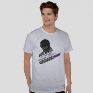 Samuel L. Jackson Jules Winnfield Pulp Fiction Movie  Star Wars Jedi Light Saber parody white t-shirt