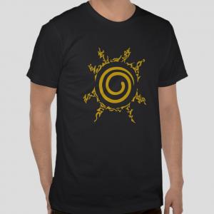Free Shipping Nine Tail Seal Chest Kyuubi Kurama Naruto Shippuden anime Black t-shirt