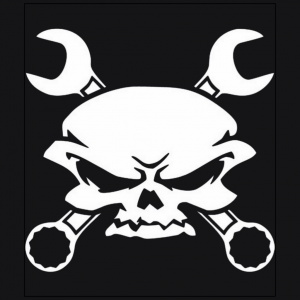 Wrench Pirates skull jolly roger Black t-shirt