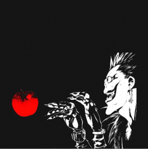 Death Note shinigami ryuuk from hell reaper apple anime manga  black t-shirt