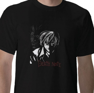 Death Note shinigami god of death reaper ryuuk and Kira light yagami anime manga  black t-shirt