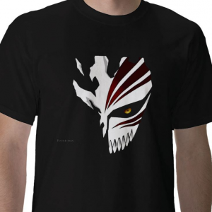 Shinigami human Kurosaki Ichigo Soul Society hollow mask Bleach anime manga black t-shirt
