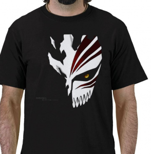 Shinigami human Kurosaki Ichigo Soul Society hollow mask Bleach anime manga black t-shirt