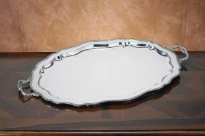 Vassoio Ovale Argentato Argento con manici Sheffield stile Regina Anna cm.74x46x2h