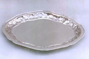 Vassoio ovale Argentato argento Sheffield stile perlinato cm.45x35x3h