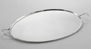 Vassoio ovale con manici Argentato Argento Stile Cardinale cm.47x34