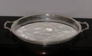 Vassoio ovale con manici Argentato Argento Stile Traforato cm.48x34x4h