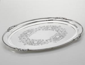 Vassoio ovale in Sheffield con incisione stile regina anna cm.44x34
