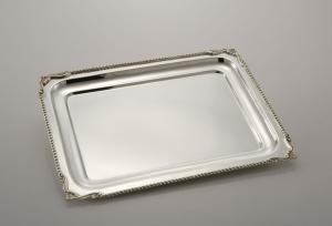 Vassoio rettangolare Argentato Argento stile perlinato Sheffield cm.33x25