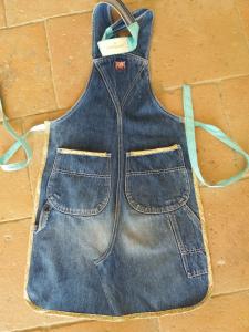Grembiule jeans artigianale fiorellini