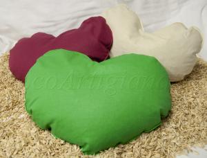 3 Cuscini Cuore in Cotone e Pula di Farro Biologica