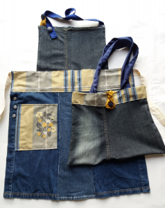 Grembiule jeans + borsa coordinata