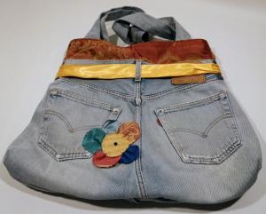 Borsa Jeans con fiore