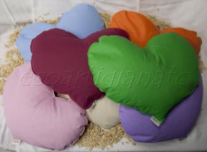 7 Cuscini Cuore Con Pula di Farro Bio