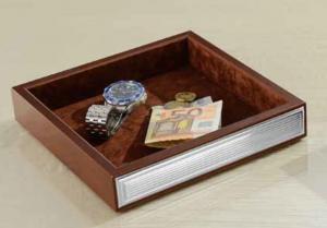 Vuota Tasche Quadrato con banda in Argento su due lati color legno cm.20,5x20,5x3,5h