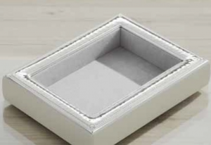 Vuota tasche Rettangolare Argento Stile Martellato cm.18x13x3h