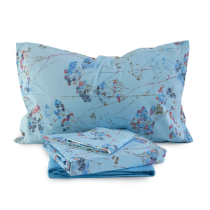 Bed sheet set Bassetti double AZULEJOS turquoise floral