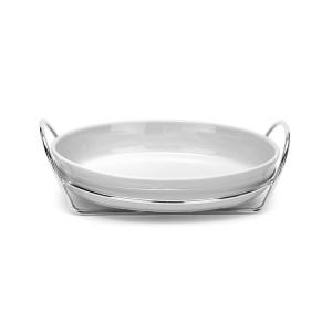 Risottiera Ovale con supporto con manici Argentato argento e pyrex porcellana cm.38,5x27x13h