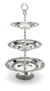 Alzata 3 piani stile cesellato argentato argento sheffield cm.55h