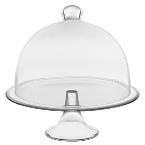 Alzata per dolci e frutta in vetro con campana in vetro cm.26,5h diam.28