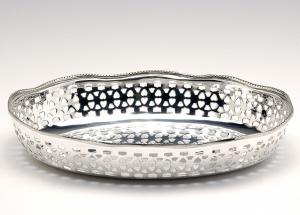 Cestino ovale pane argentato argento sheffield stile Traforato cm.19x15x3,5h