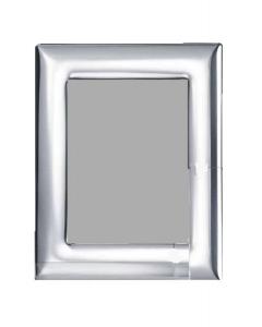 Cornice lucida in argento 10x15 larga bombata lucida misure totali 16x21 retro in legno cm.10x15h