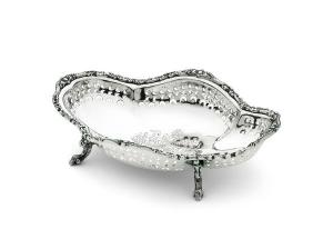 Fruttiera rettangolare argentato argento sheffield con piedini stile traforato cm.32x22x7,5h