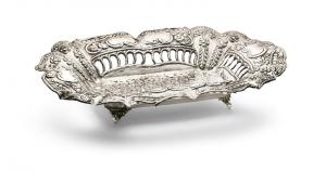 Fruttiera rettangolare argentato argento sheffield stile cesellato cm.45x35