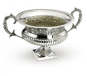 Fruttiera tonda con manici argentato argento sheffield stile cesellato cm.51h diam.40
