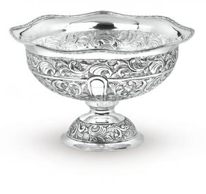 Fruttiera tonda in argentato argento sheffield stile cesellato cm.20h diam.32