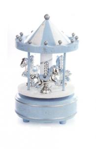 Giostra azzurra in legno con decori argento con cavalli cm.18h diam.10