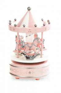 Giostra rosa in legno con decori in argento con cavalli cm.18h diam.10