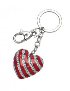 Portachiavi cuore rosso con strass cm.11x4x1h