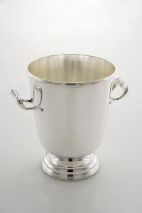 Secchiello champagne con base stile Rubans argentato argento sheffield cm.26h diam.20