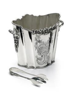 Secchiello ghiaccio sheffield argentato argento con pinza ghiaccio stile inciso cm.17h