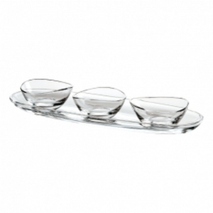 Set di 3 coppette in vetro con piatto cm.50x16
