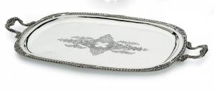 Vassoio ovale con manici e incisione stile Regina Anna argentato argento sheffield cm.47x36