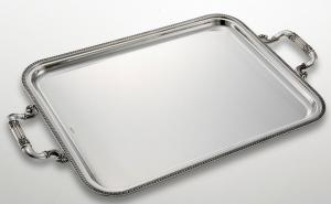 Vassoio rettangolare argentato argento con manici stile Impero cm.65x45