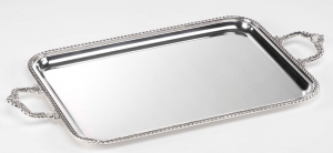 Vassoio rettangolare argentato argento con manici stile Regina cm.37x27