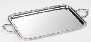 Vassoio rettangolare argentato argento con manici stile Regina cm.55x43