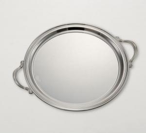 Vassoio tondo con manici stile Inglese argentato argento sheffield cm.diam.30