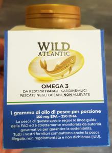 Wild Atlantic Omega 3 SOLO da pesce selvaggio dell'Oceano Atlantico. Un grammo di Omega 3 per porzione