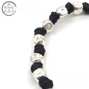 Dandy Street - Bracciale nodi e cubetti in argento Ag925 - nero