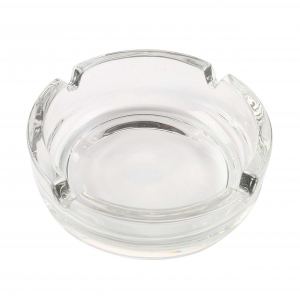 Posacenere in vetro forma rotonda impilabile con 4 punti di appoggio per sigaretta e sigari 2 pezzi cm.3h diam.10,7